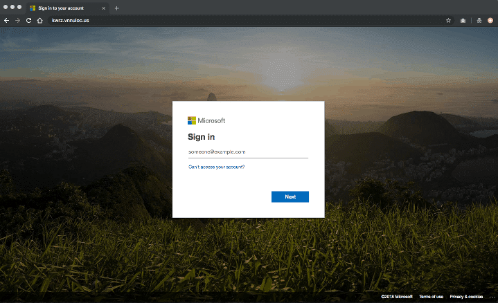 Fake Microsoft Login Site