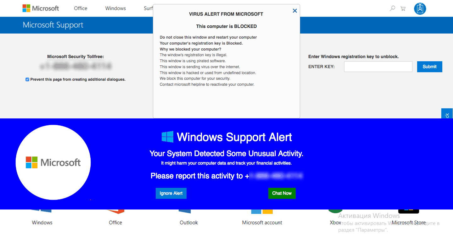 Fake Microsoft Support Site